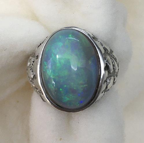 Oval Mintabie Opal in Sterling Silver Ring