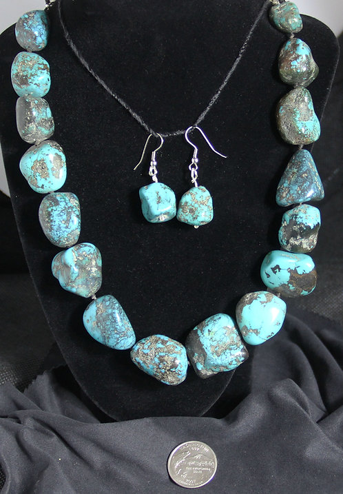 Turquoise Nugget Necklace and Earrings
