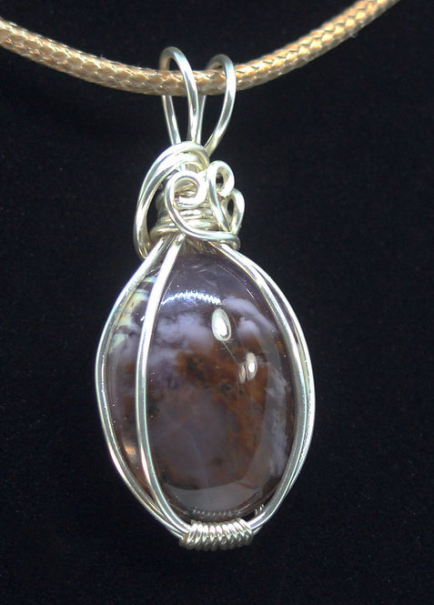 Cherry Orchard Agate Pendant With Silver Filled Wrapped Setting