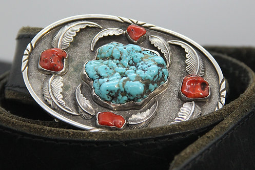 Fabricated Sterling Belt Buckle  With Turquoise Nugget and Coral