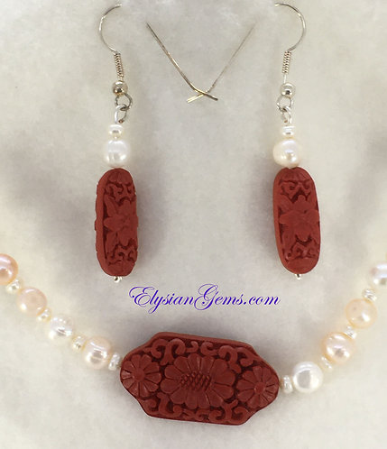 Cultured Fresh Water Pearls and Simulated Cinnabar Beads