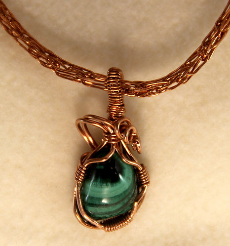 Chatoyant Bisbee Malachite Cab Mounted in Copper Wire Wrapped Pendant w/Viking Weave Chain