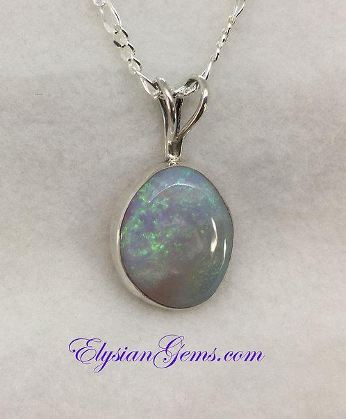 Oval Mintabie Opal Pendant Set in Sterling Silver
