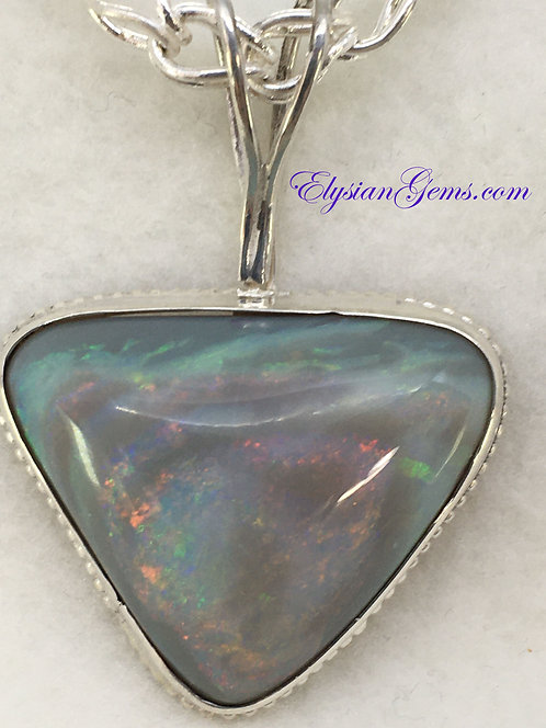 Lambina Opal Necklace on Hand Made Silver Chain