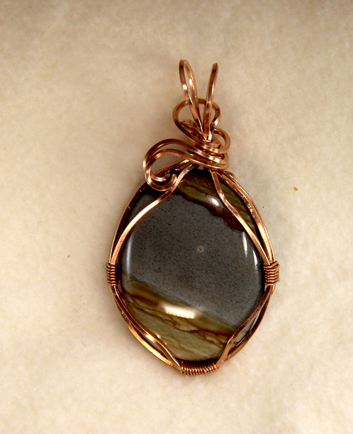 Picture Jasper Cabochon Mounted in Wire Wrapped Copper Setting