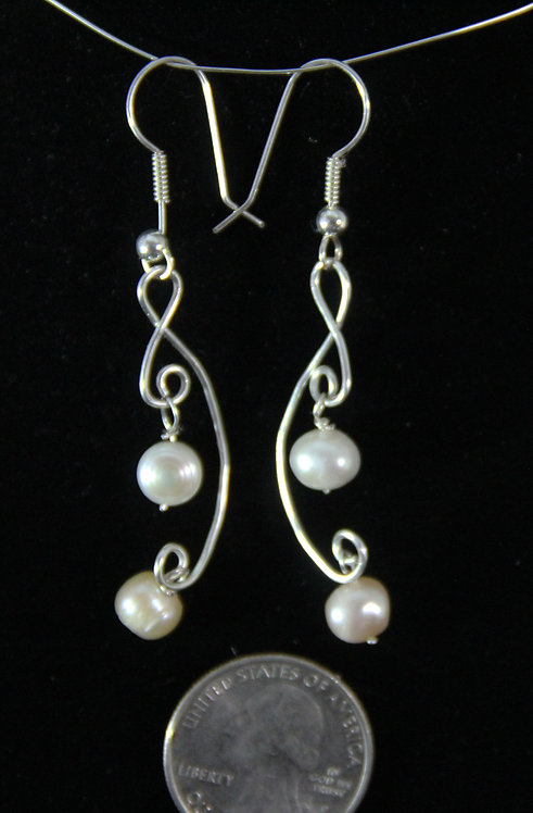 Cultured Pearl earrings on twisted Wire with French wires