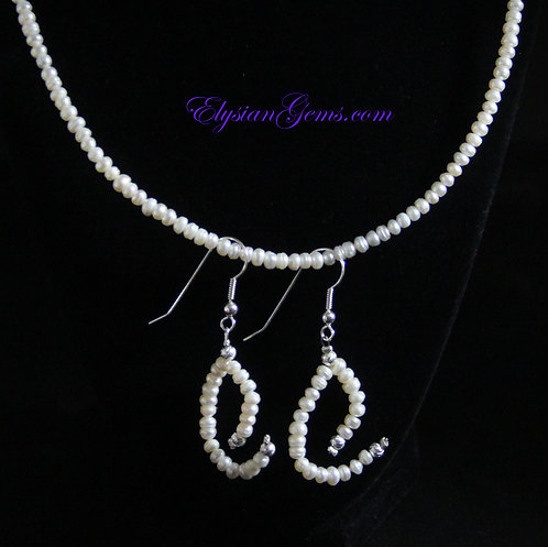 """18"""" Cultured MINI Pearls with earrings"""