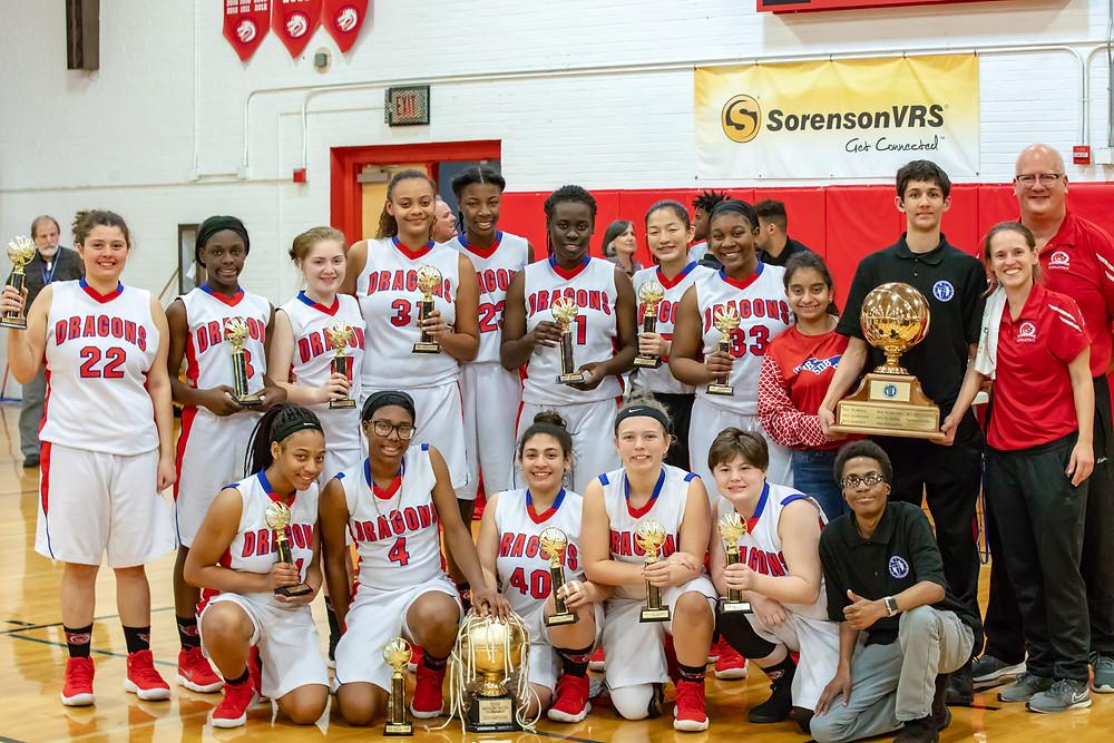 The 2018-2019 FSDB Girls Basketball Team after winning the 2019 Mason-Dixon Championship.