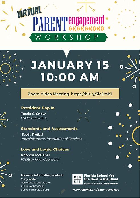 FSDB Parent Engagement Workshop Flyer for January 2021