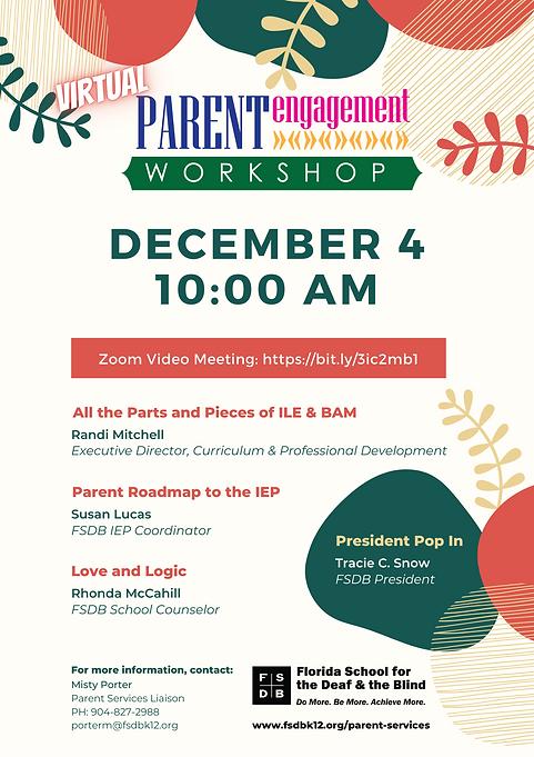 Parent Engagement Workshop Flyer for December 4, 2020