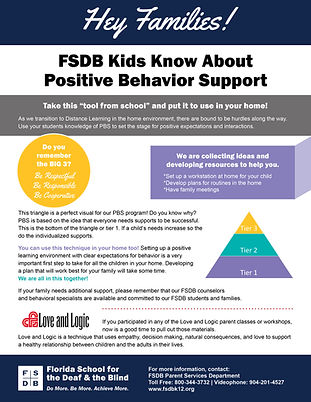 FSDB Kids Know About Positive Behavior Support Flyer