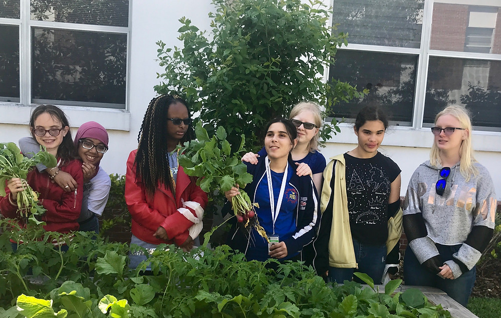 FSDB blind students in the Outdoor Club gardening.