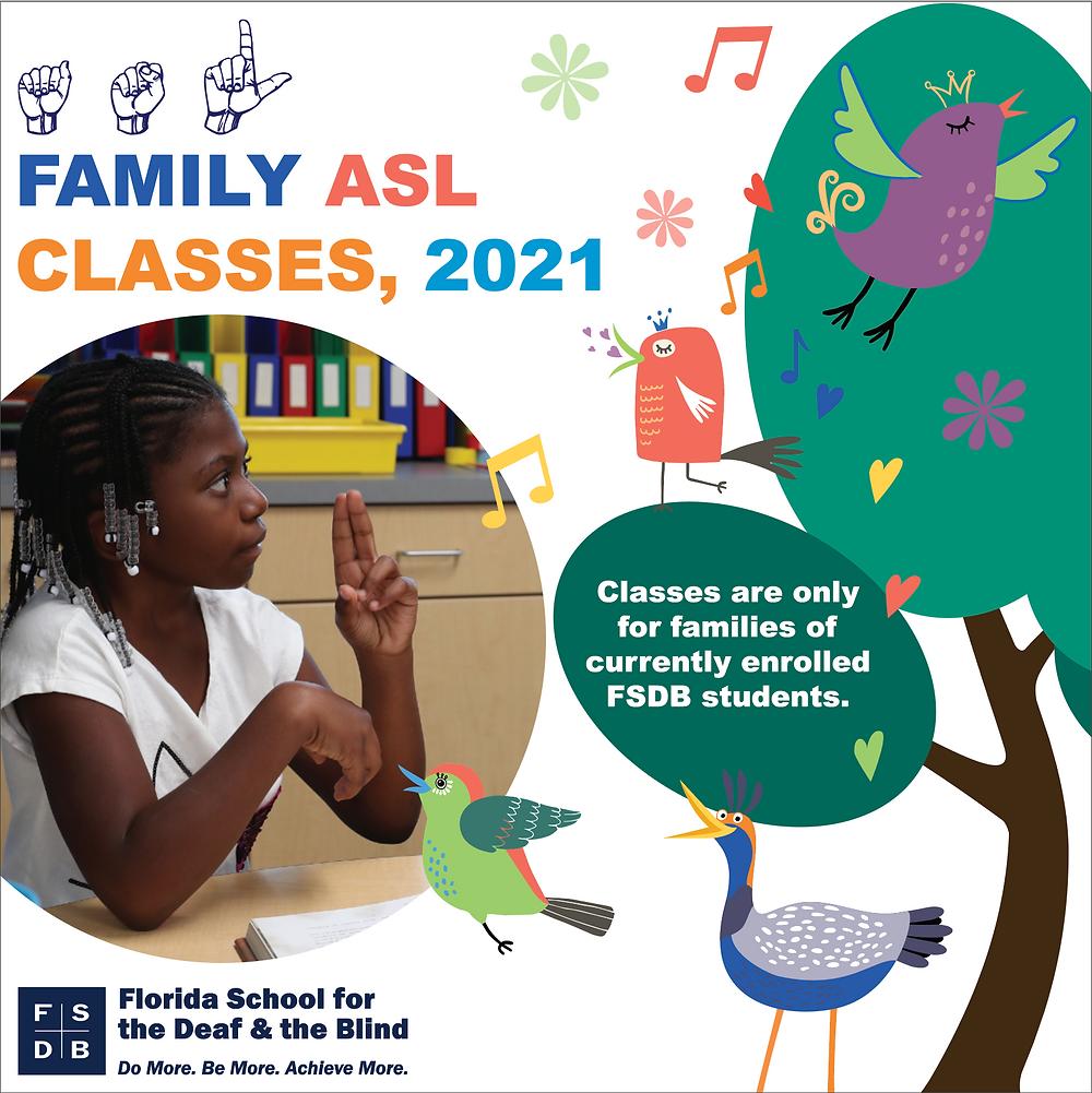 FSDB Parent Virtual Sign Language Classes Spring Flyer