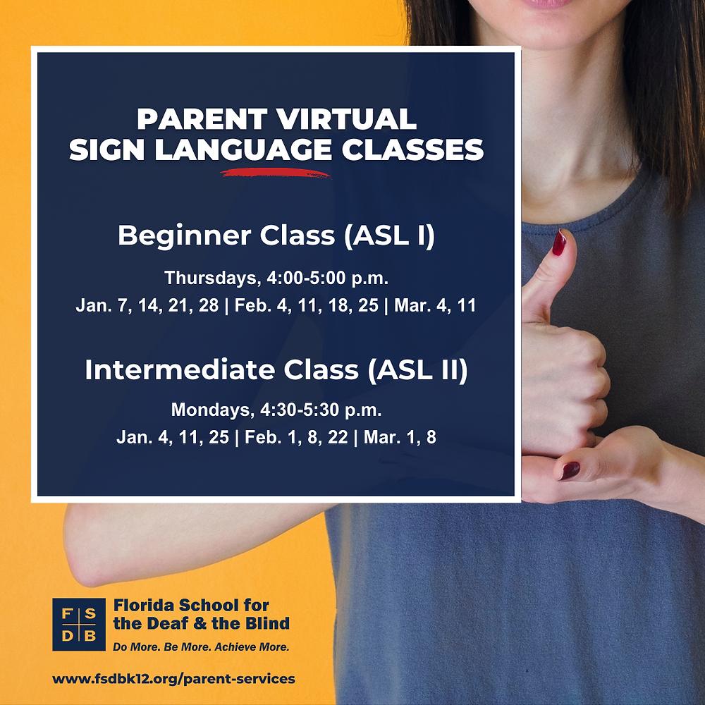 FSDB Parent Virtual Sign Language Classes Flyer
