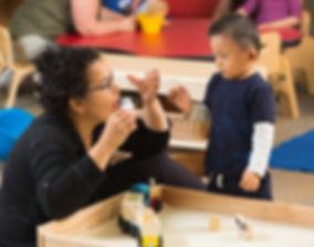 """FSDB ELC teacher sign """"milk"""" to deaf boy."""