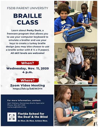 Braille Class Flyer Fall 2020