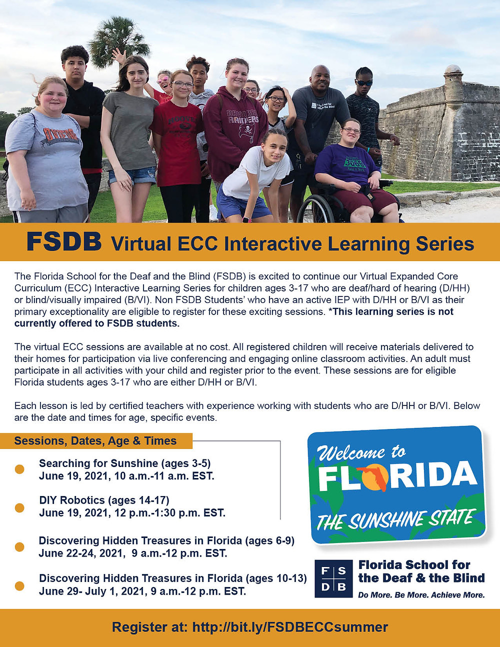 Virtual ECC Interactive Learning Series flyer for the summer. Students posing for a photo in front of the Castillo de San Marco in downtown St. Augustine.