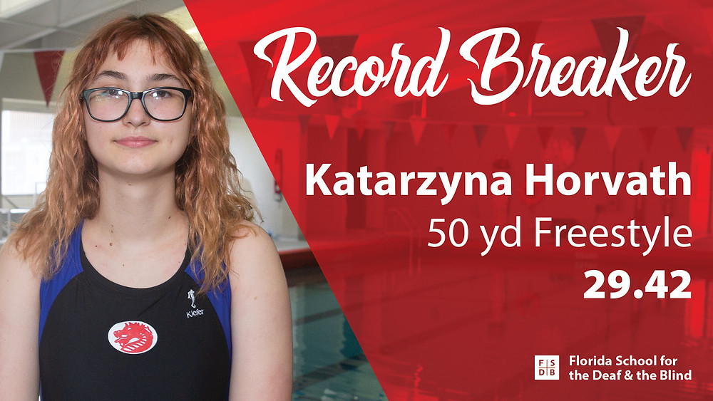 FSDB swimmer Katarzyna Horvath poses for photo in front of pool.