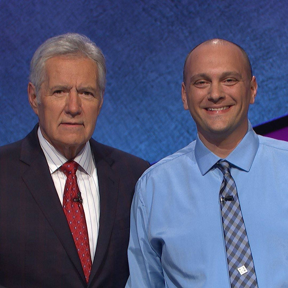 Alex Trebek and Justin Cosgrove on the set of Jeopardy!