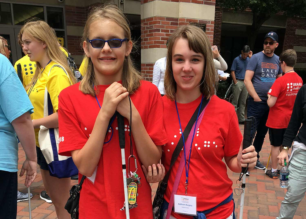 FSDB blind students Savannah and Addison at the 2018 National Braille Challenge.