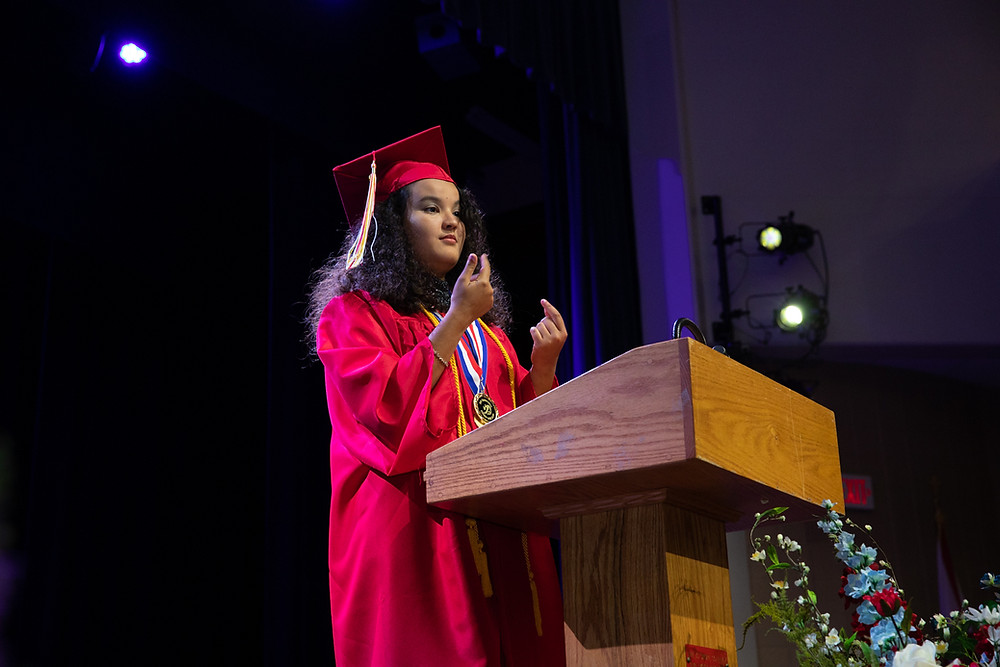 Kilmaried Muniz-Rivera, FSDB Valedictorian for the Deaf Department, delivers her commencement speech.