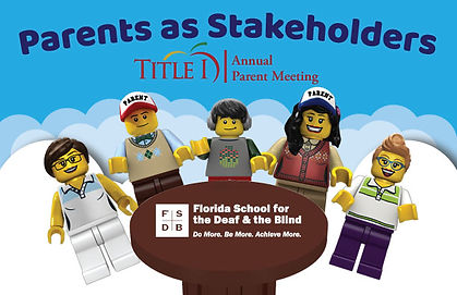 """Five lego figures around a table with the words """"Parents as Stakeholders, Title I Annual Parent Meeting"""""""