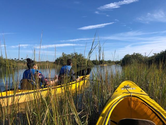 FSDB students in the Deaf Outdoors Club kayaking in Hospital Creek.