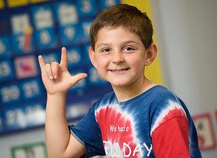 FSDB Deaf Elementary Boy signing I love