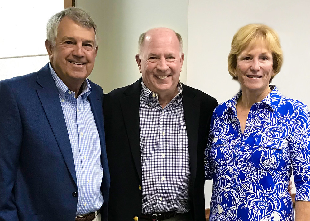 Allen and Delores Taylor Lastinger pose with Dr. Tom Zavelson during an FSDB Board of Trustees meeting.