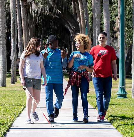 FSDB students walking down Palm Row.