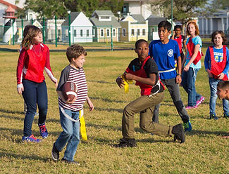 FSDB students playing flag football.
