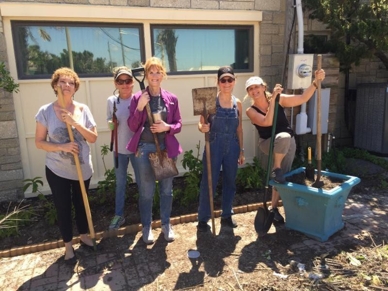 FSDB volunteers help landscape the Cultural Arts Center.