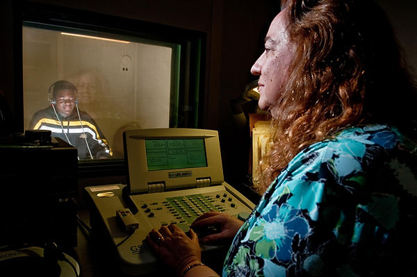 FSDB Audiologist testing a deaf student