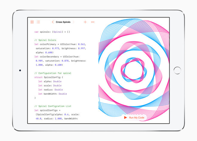 iPad showing Swift Playgrounds