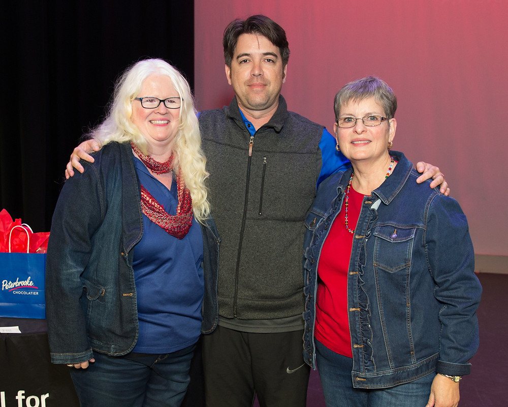 FSDB Teacher of the Year Keith Young with Margaret Galligan-Prater and Dr. Jeanne G. Prickett