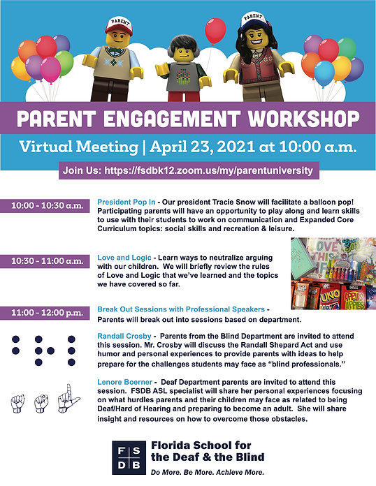 FSDB Parent Engagement Workshop Save the Date Postcard for April 23, 2021
