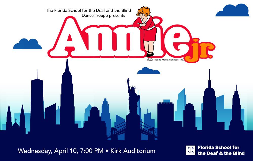 Annie Junior logo over New York City Skyline.