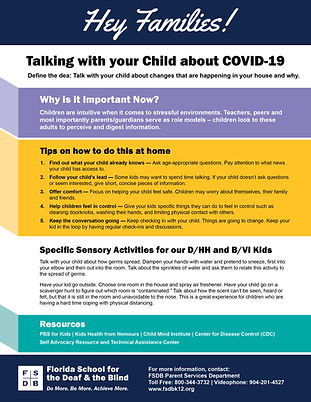 Talkin with your child about COVID-19 Flyer