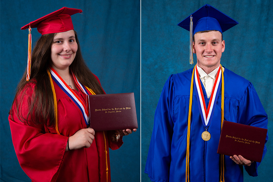 FSDB seniors Samantha Washburn (Deaf Department) and Gage Vanderwerf (Blind Department) holding diplomas, wearing their graduation cap and gown.