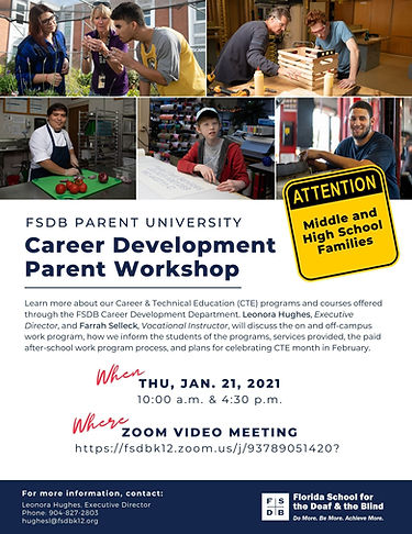 Career Development Parent Workshop Flyer