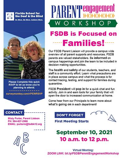 Parent Engagement Workshop Flyer – September 10, 2021
