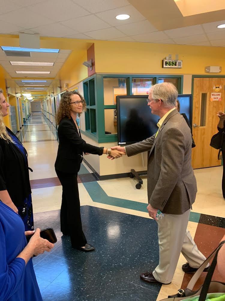 FSDB DHS Assistant Principal Padden greets Congressman Rutherford