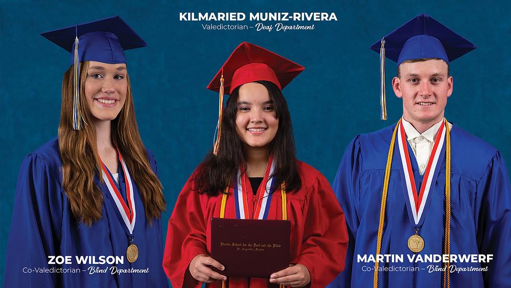 Zoe Wilson, Kilmaried Muniz-River, and Martin Vanderwerf in their graduation cap and gown.