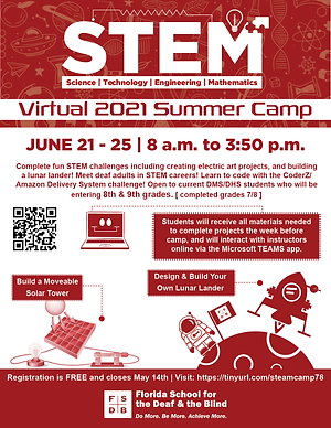 Flyer for the Virtual STEM Summer Camp for currently enrolled 8th and 9th graders for the 2021-22 school year.