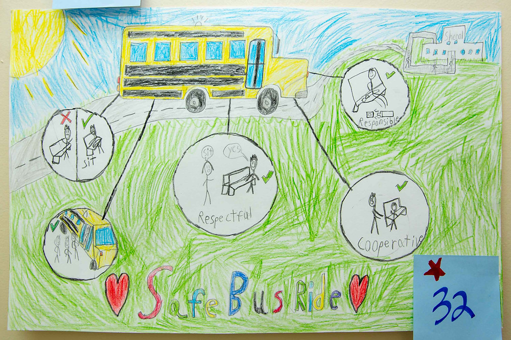 Yellow bus with 5 circles that show different directives; sit, respectful, responsible, cooperation, and lining up to get on the bus.