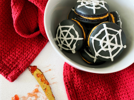 Halloween Macarons - with Pumpkin Frosting and Strawberry Jam