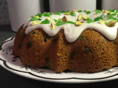 Green Cherries, Pistachios, and Lime Bundt Cake