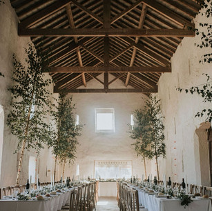 Shot of wedding venue with lighted window in centre