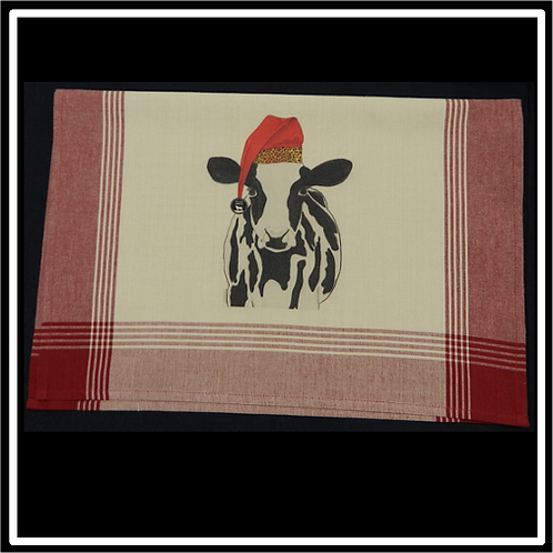 Navy Plaid Tea-Dyed Background Kitchen Towel