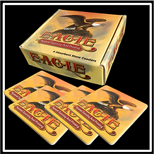 Fully Custom Printed Corrugated Box that can be printed on all sides. Set includes FOUR Absorbent Stone Custom Coasters.